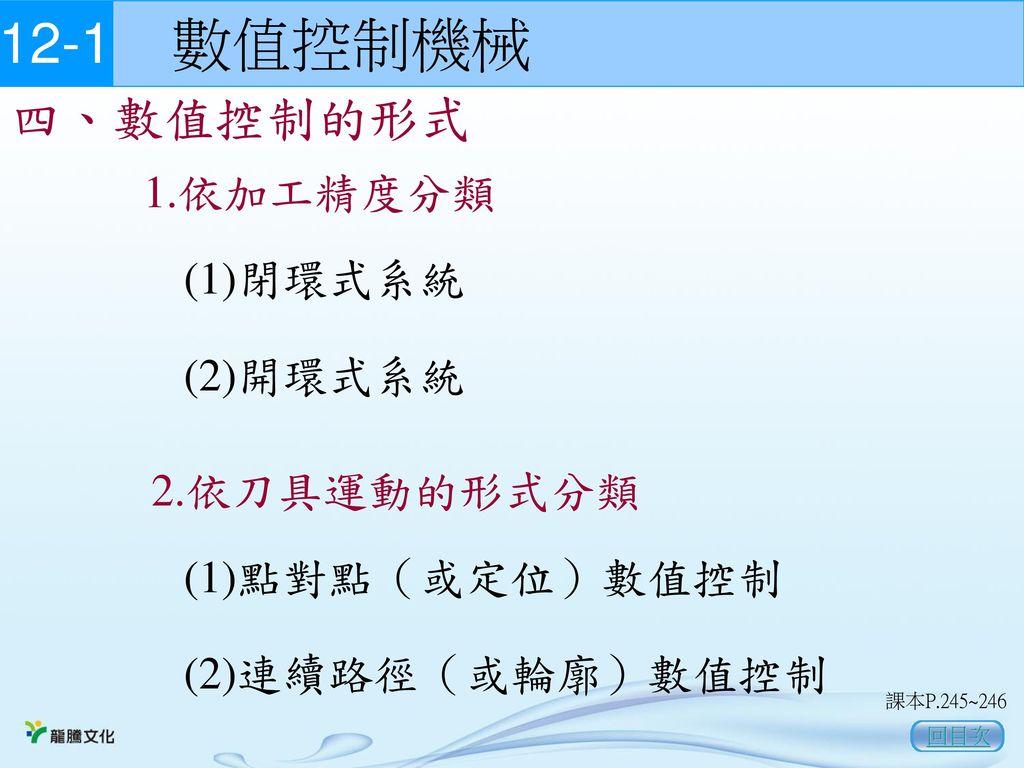 12-1 數值控制機械 四、數值控制的形式 1.依加工精度分類 (1)閉環式系統 (2)開環式系統 2.依刀具運動的形式分類