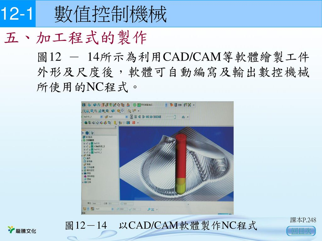 12-1 數值控制機械 五、加工程式的製作. 圖12 - 14所示為利用CAD/CAM等軟體繪製工件外形及尺度後,軟體可自動編寫及輸出數控機械所使用的NC程式。 圖12-14 以CAD/CAM軟體製作NC程式.