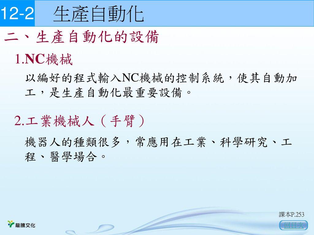 12-2 生產自動化 二、生產自動化的設備 1.NC機械 2.工業機械人(手臂)