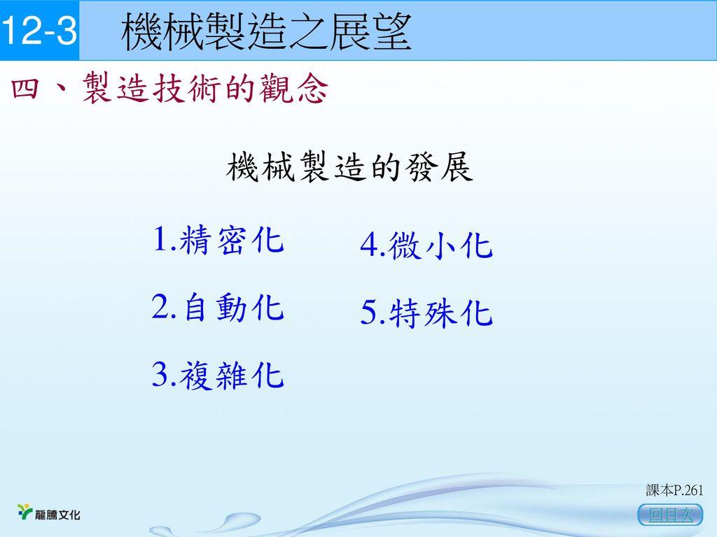 12-3 機械製造之展望 四、製造技術的觀念 機械製造的發展 1.精密化 4.微小化 2.自動化 5.特殊化 3.複雜化 回目次