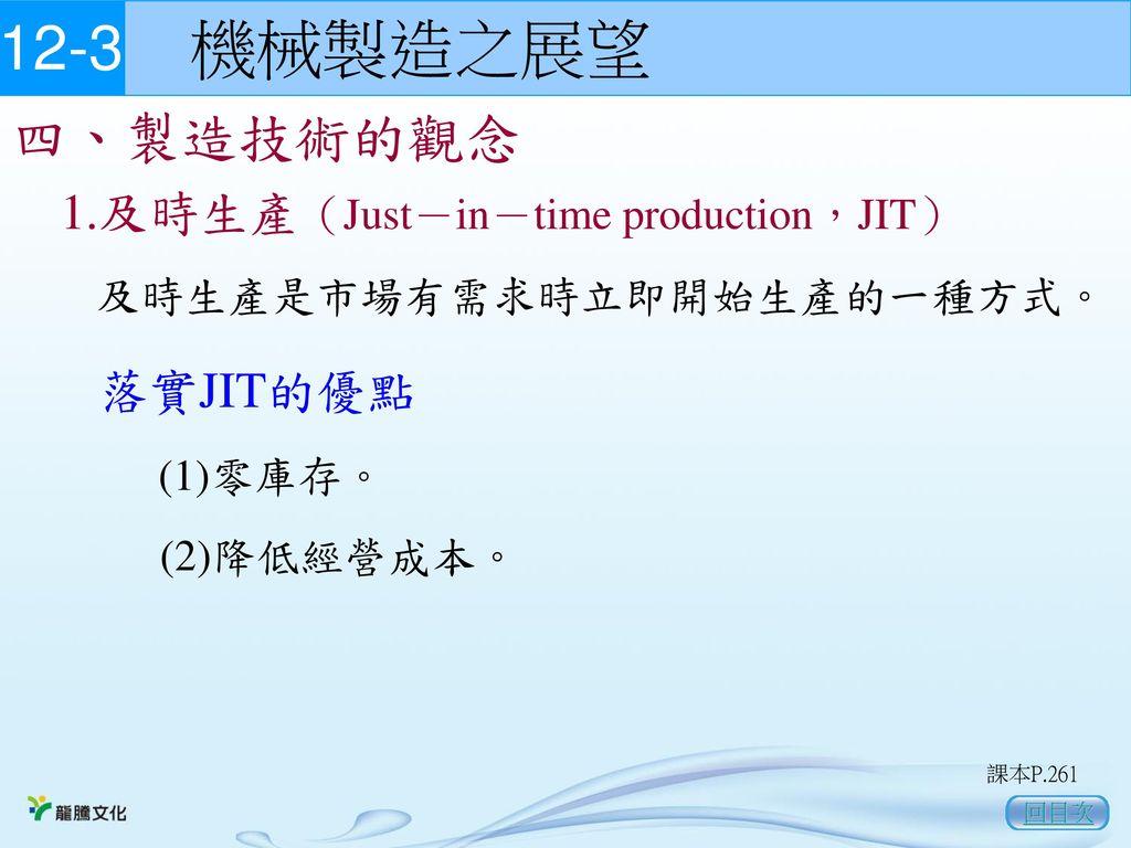 12-3 機械製造之展望 四、製造技術的觀念 1.及時生產(Just-in-time production,JIT) 落實JIT的優點
