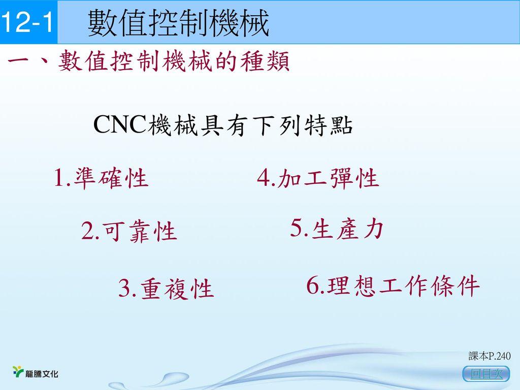 12-1 數值控制機械 一、數值控制機械的種類 CNC機械具有下列特點 1.準確性 4.加工彈性 5.生產力 2.可靠性 3.重複性
