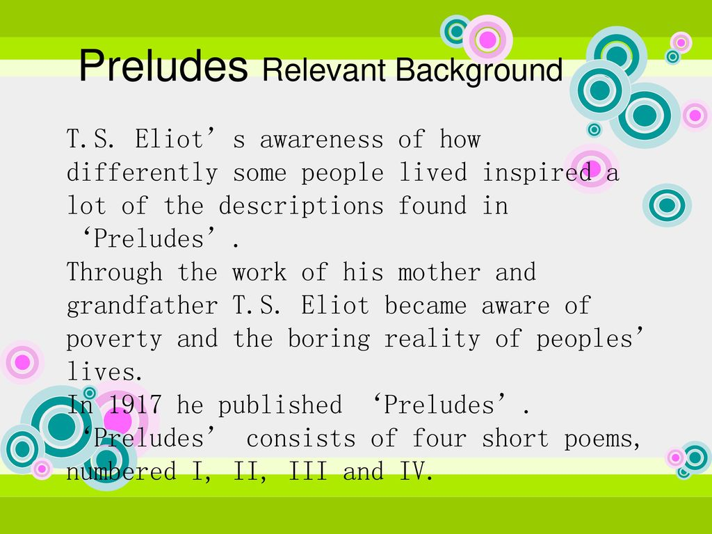 an analysis of the imagery in preludes by t s eliot The use of imagery in preludes by ts eliot - the use of imagery in preludes by ts eliot in ts eliot's poem preludes he portrays the world as a dark and depressing with no future his imagery is sharp and clear and he exercises many techniques.