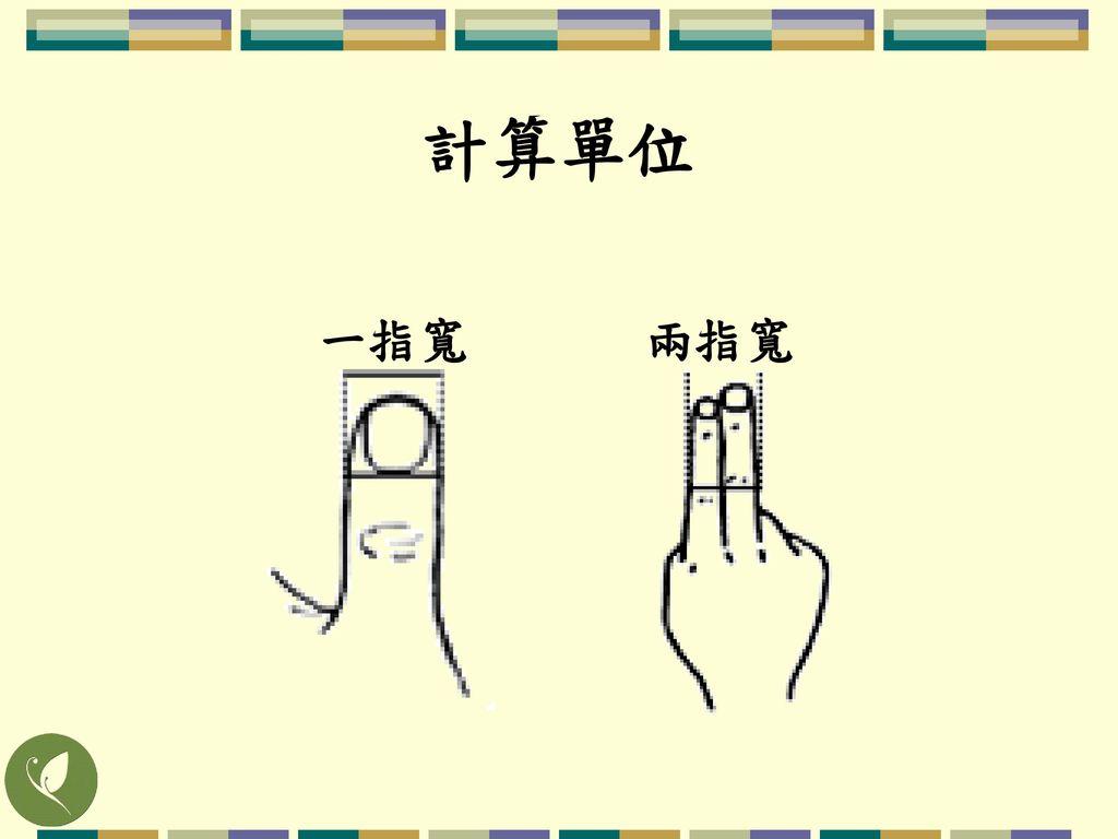 計算單位 一指寬 兩指寬 以患者的指寬度來找