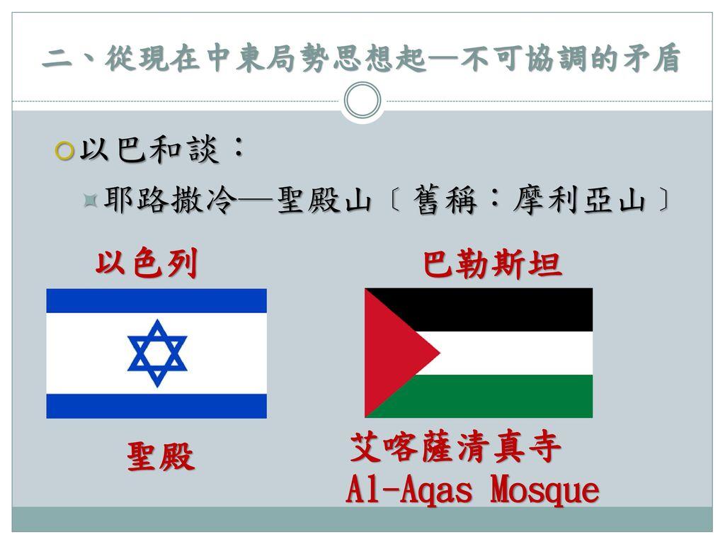 二、從現在中東局勢思想起—不可協調的矛盾