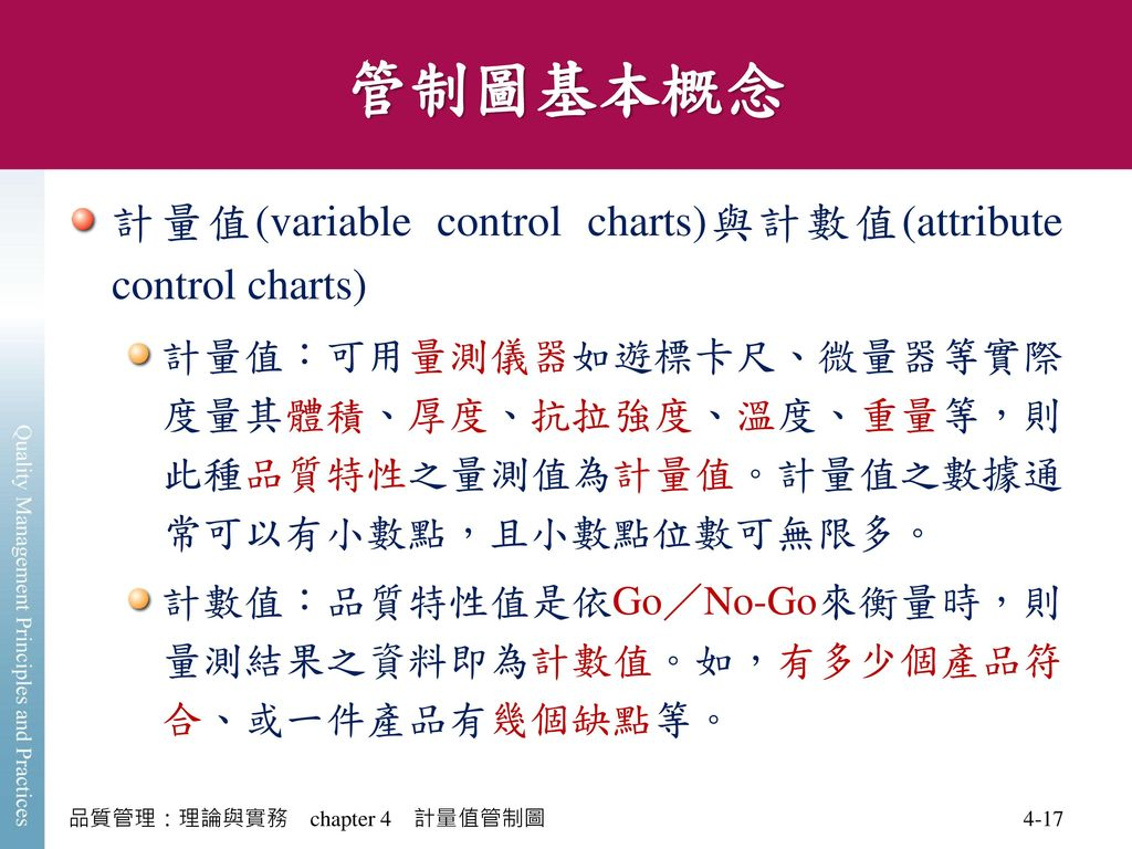 管制圖基本概念 計量值(variable control charts)與計數值(attribute control charts)
