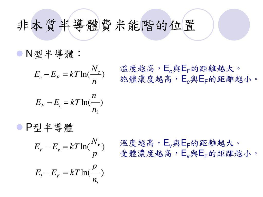 非本質半導體費米能階的位置 N型半導體: P型半導體 溫度越高,Ec與EF的距離越大。 施體濃度越高,Ec與EF的距離越小。