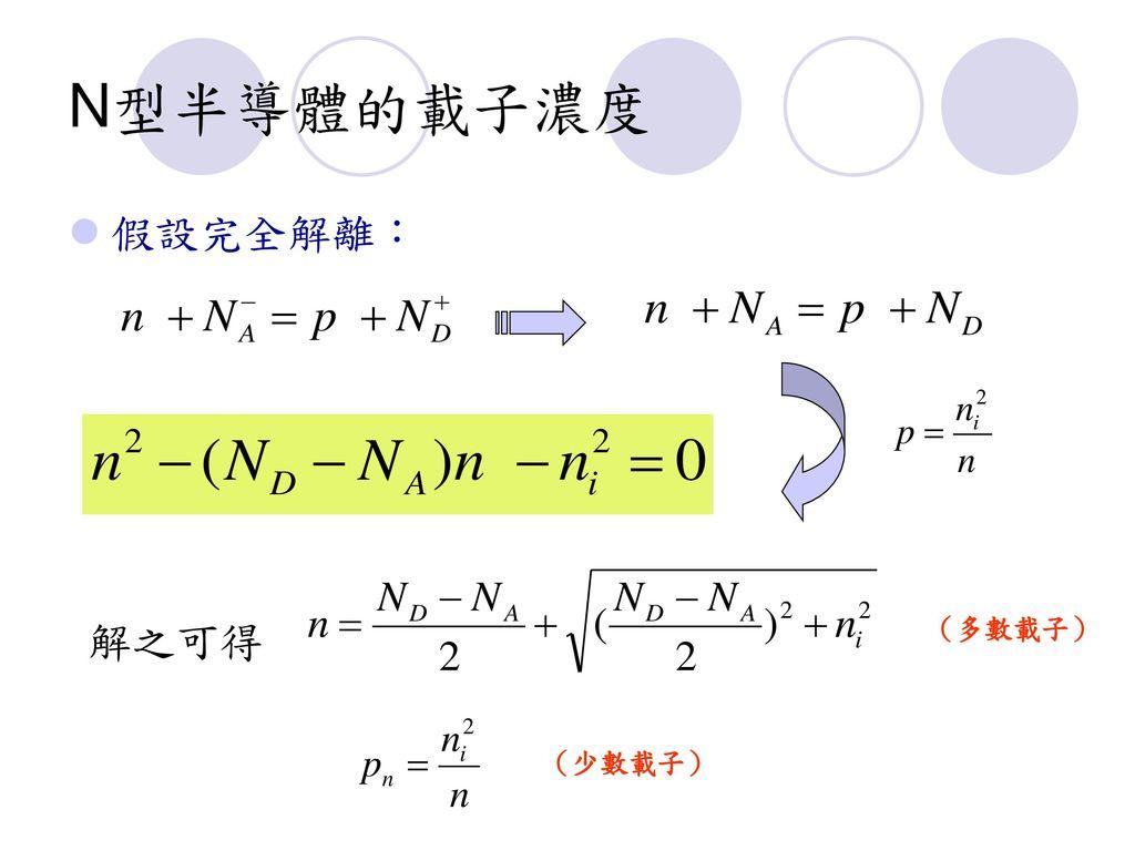 N型半導體的載子濃度 假設完全解離: 解之可得 (多數載子) (少數載子)