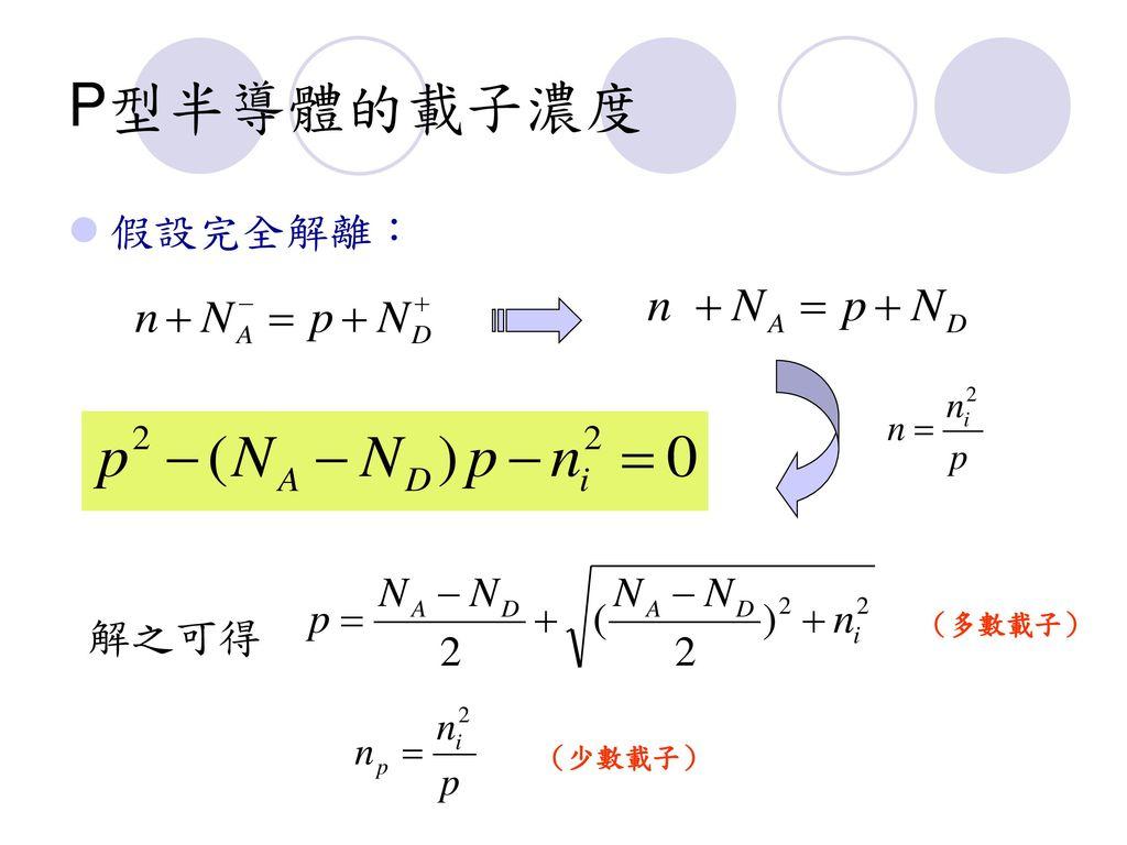 P型半導體的載子濃度 假設完全解離: 解之可得 (多數載子) (少數載子)