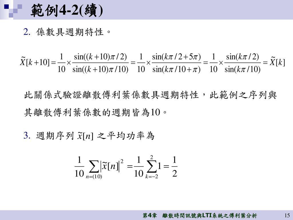 範例4-2(續) 係數具週期特性。 此關係式驗證離散傅利葉係數具週期特性,此範例之序列與其離散傅利葉係數的週期皆為10。