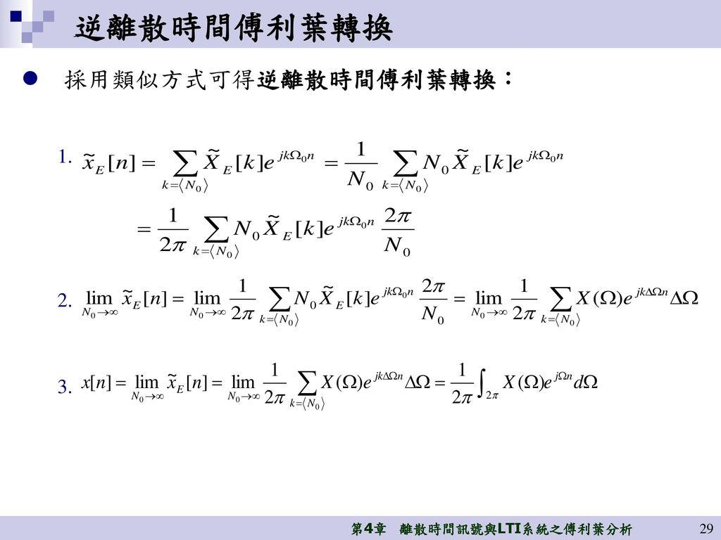 逆離散時間傅利葉轉換 採用類似方式可得逆離散時間傅利葉轉換:
