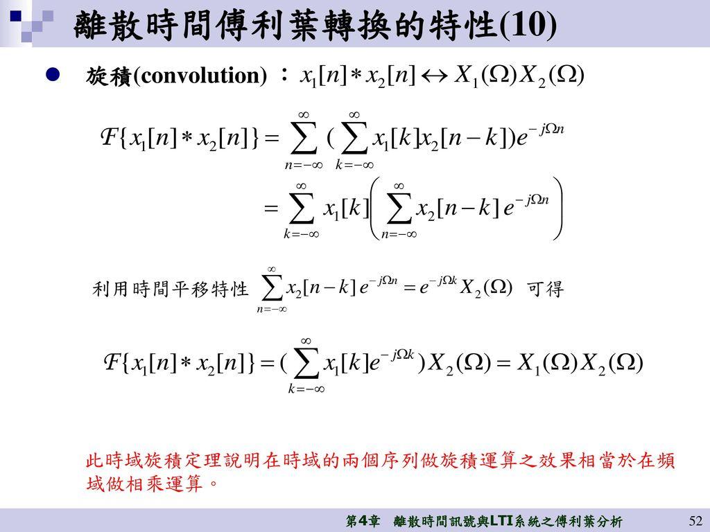 離散時間傅利葉轉換的特性(10) 旋積(convolution) : 利用時間平移特性 可得