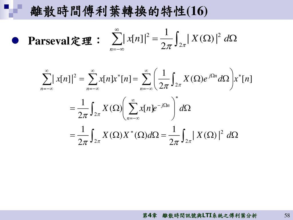離散時間傅利葉轉換的特性(16) Parseval定理:
