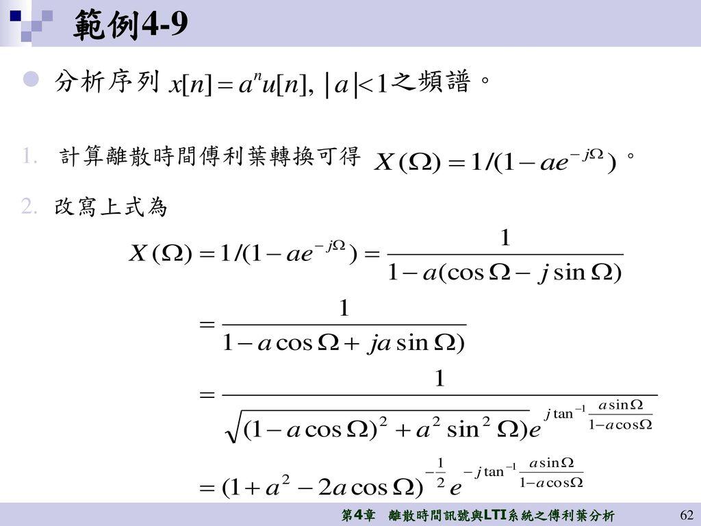 範例4-9 分析序列 之頻譜。 計算離散時間傅利葉轉換可得 。 改寫上式為