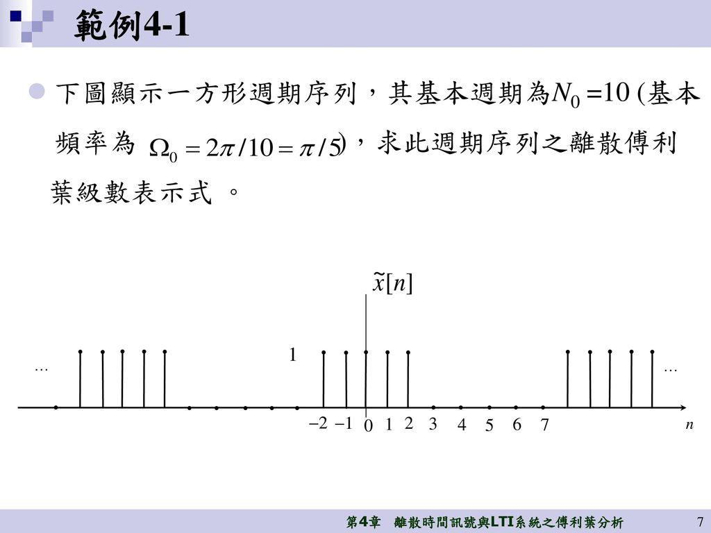 範例4-1 下圖顯示一方形週期序列,其基本週期為N0 =10 (基本 頻率為 ),求此週期序列之離散傅利 葉級數表示式 。 1 2 1
