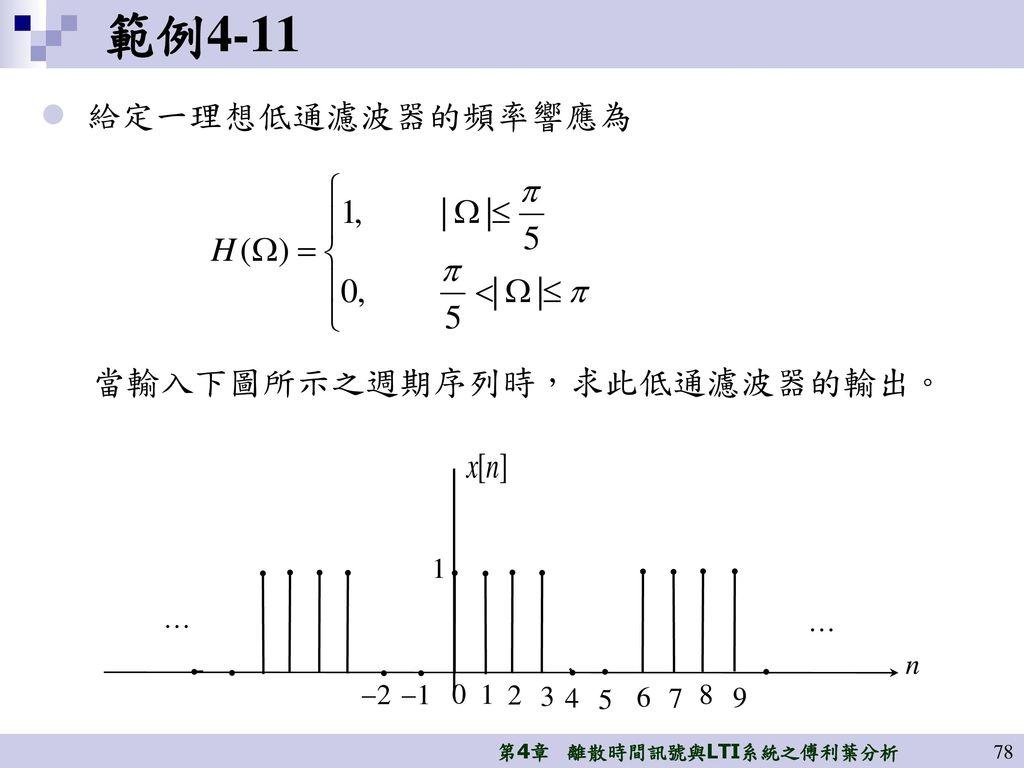 範例4-11 給定一理想低通濾波器的頻率響應為 當輸入下圖所示之週期序列時,求此低通濾波器的輸出。 1 … … n 2 1 1 2 3