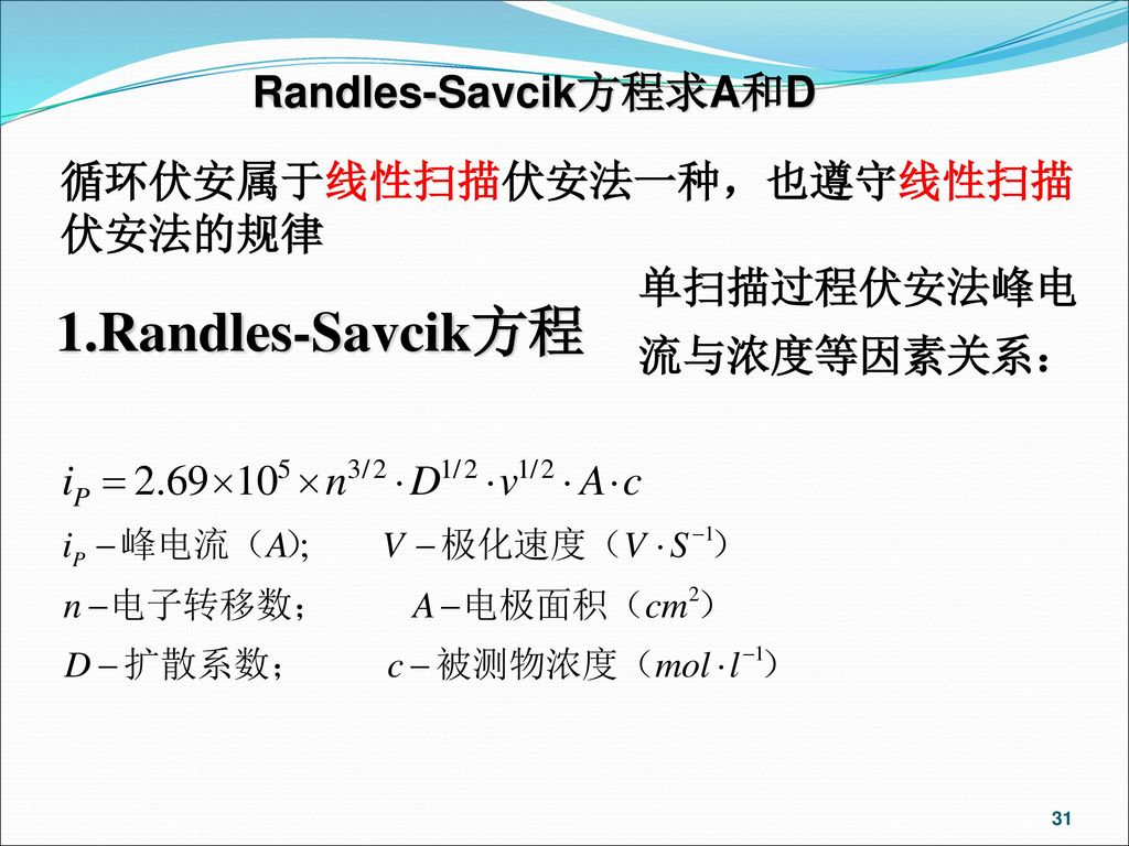 Randles-Savcik方程求A和D