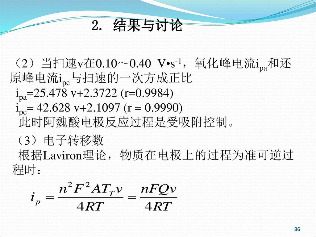 2. 结果与讨论 (2)当扫速v在0.10~0.40 V•s-1,氧化峰电流ipa和还原峰电流ipc与扫速的一次方成正比