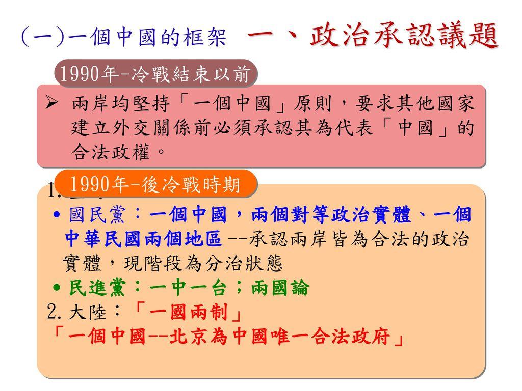 一、政治承認議題 (一)一個中國的框架 1990年-冷戰結束以前