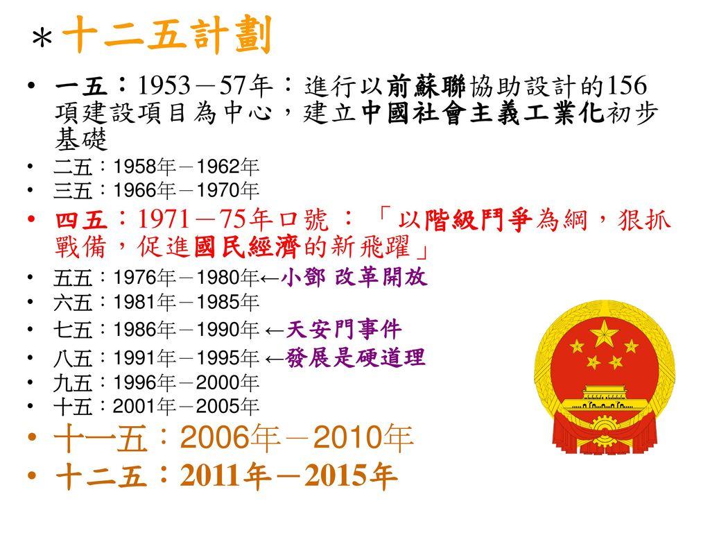 *十二五計劃 十一五:2006年-2010年 十二五:2011年-2015年