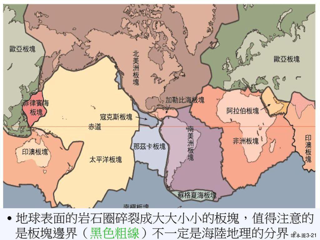 ˙地球表面的岩石圈碎裂成大大小小的板塊,值得注意的是板塊邊界(黑色粗線)不一定是海陸地理的分界。