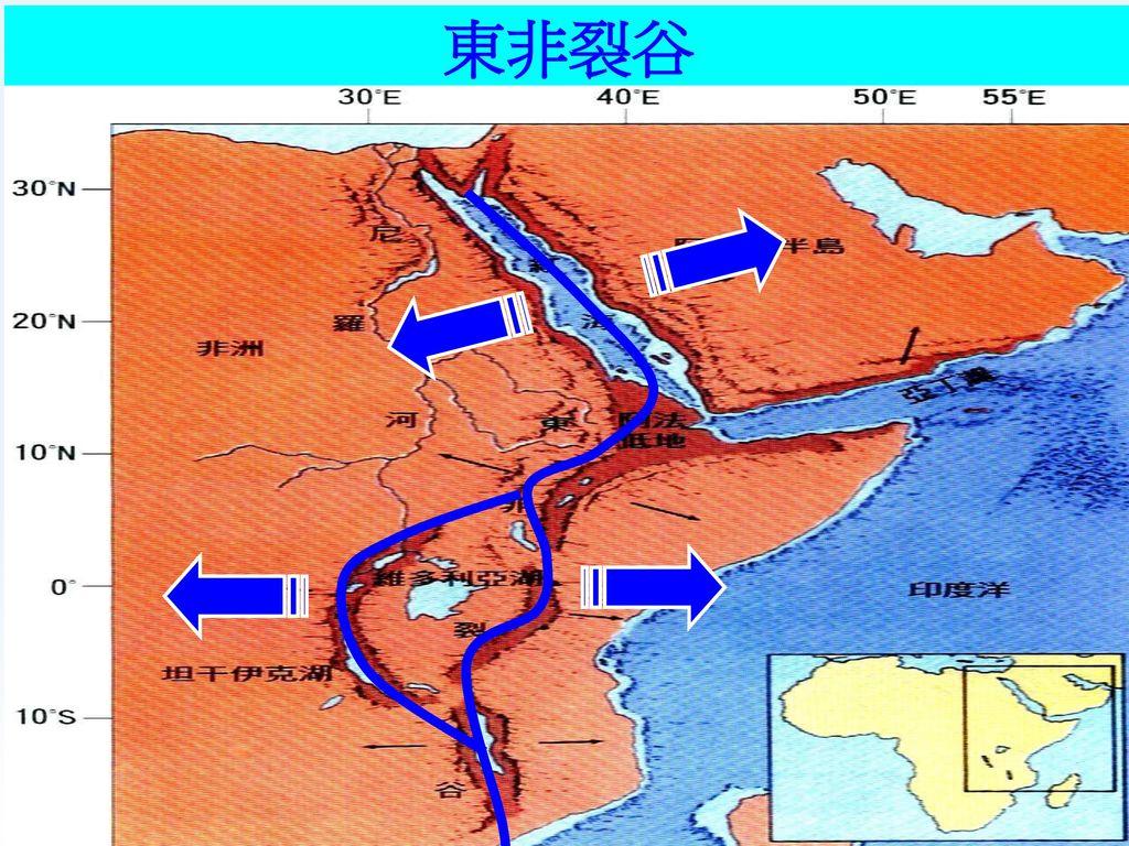 板塊邊界的類型(1)張裂性板塊 中洋脊中央斷裂谷 東非裂谷