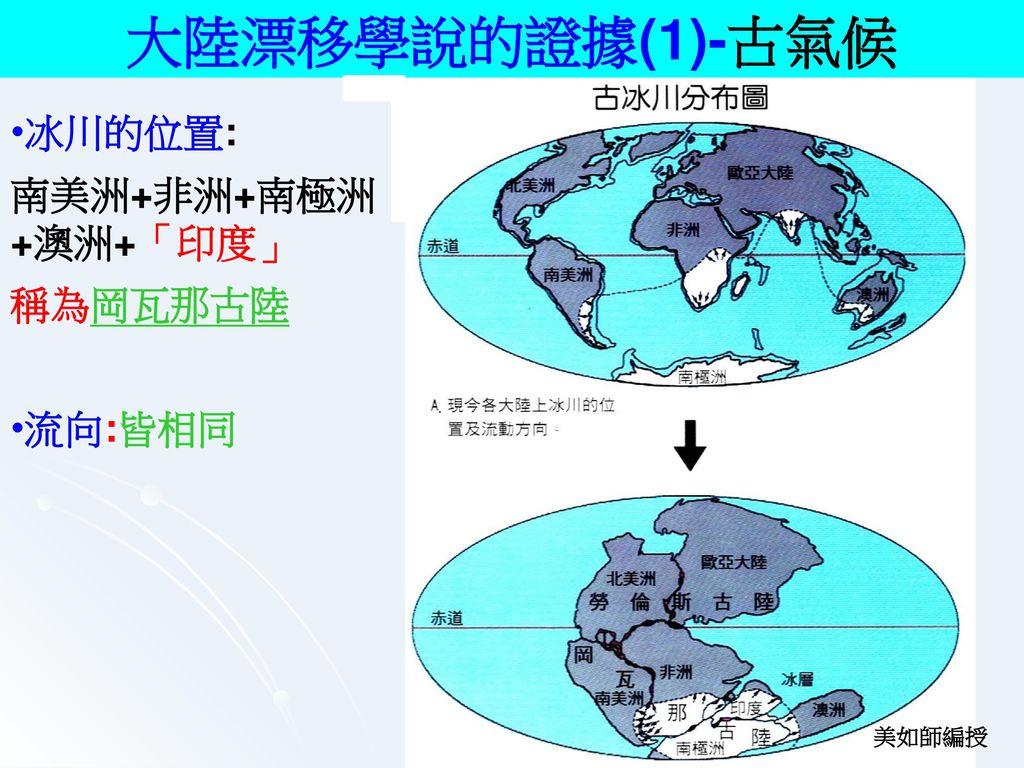 大陸漂移學說 德國人_韋格納__. 提 出 者 : 提出時間: 1915~1950年. 內 容: 3億年前原始大陸只有一塊 稱為盤古大陸. 或稱全大陸_. 以後才分裂成數塊.