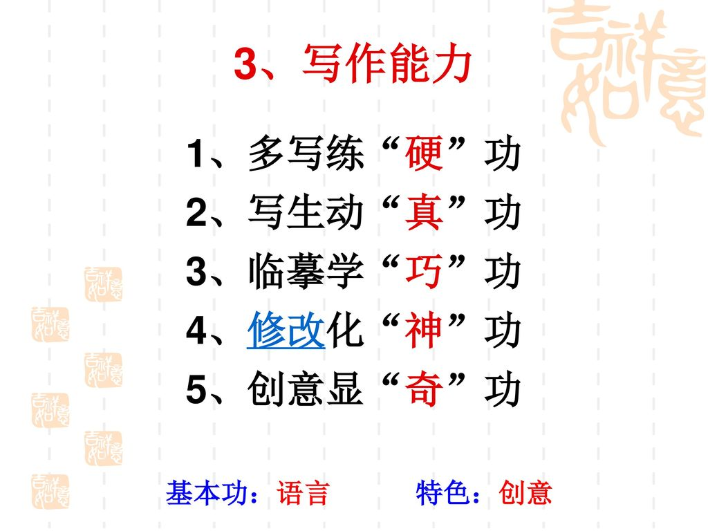 3、写作能力 1、多写练 硬 功 2、写生动 真 功 3、临摹学 巧 功 4、修改化 神 功 5、创意显 奇 功 基本功:语言 特色:创意