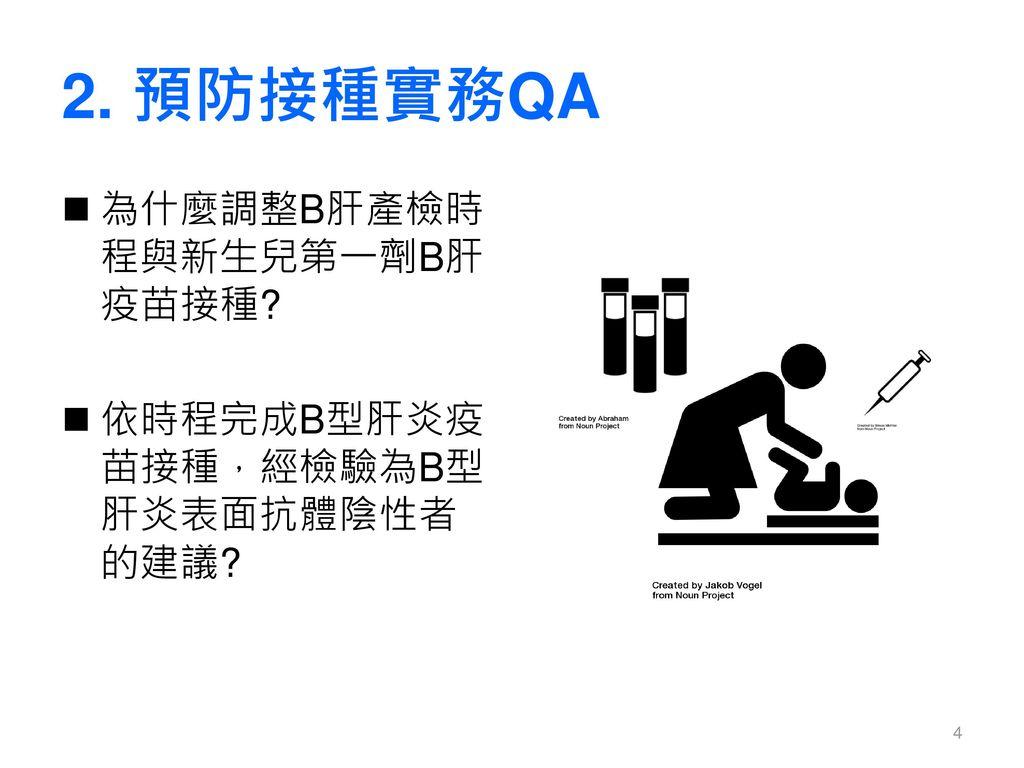 2. 預防接種實務QA 為什麼調整B肝產檢時程與新生兒第一劑B肝疫苗接種
