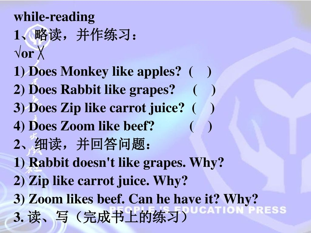 while-reading 1、略读,并作练习: √or ╳ 1) Does Monkey like apples ( ) 2) Does Rabbit like grapes ( )