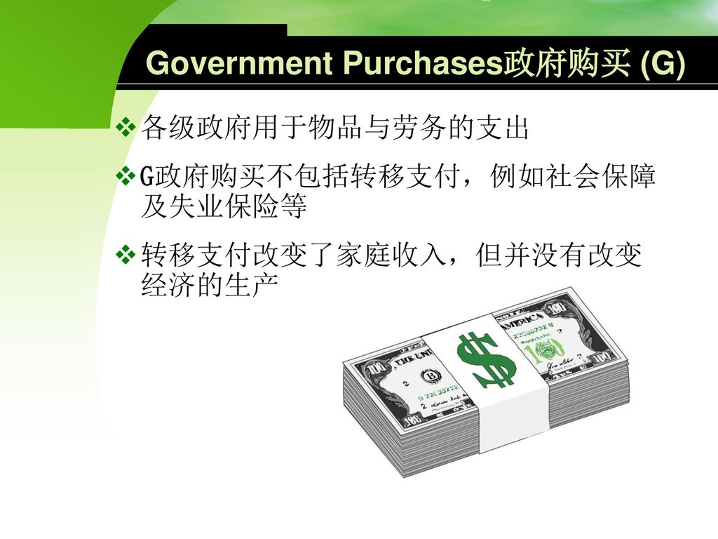 Government Purchases政府购买 (G)