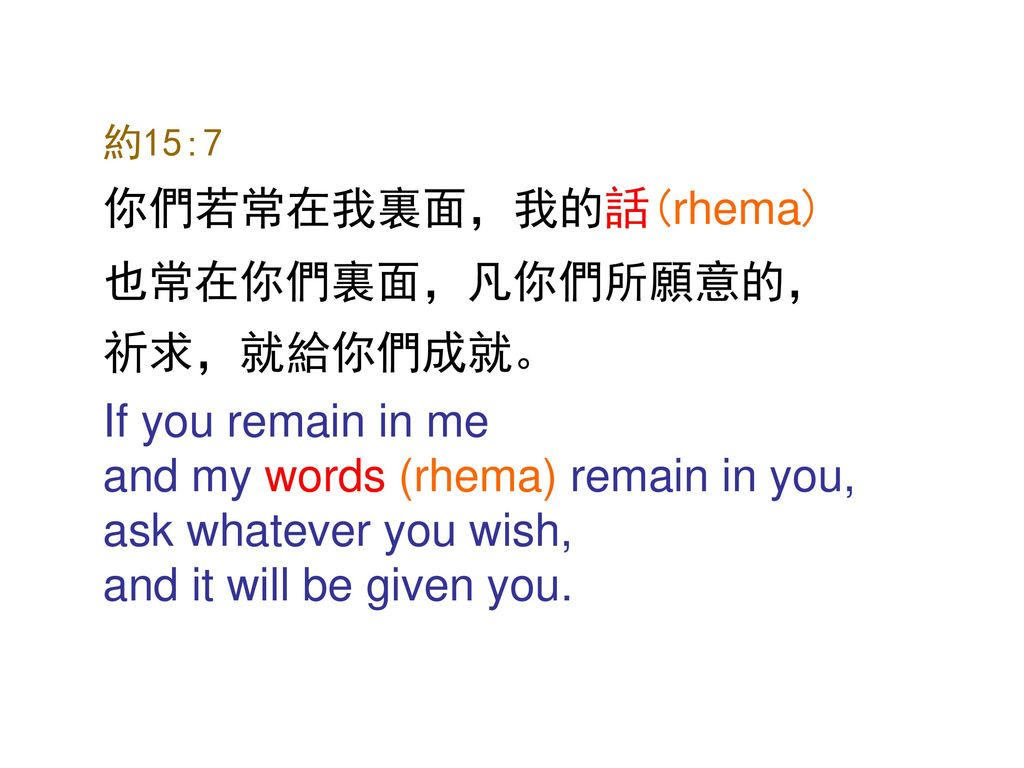 and my words (rhema) remain in you, ask whatever you wish,