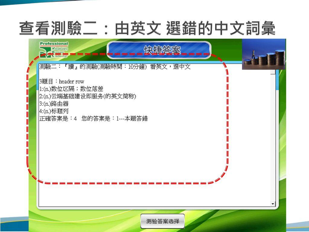 查看測驗二:由英文 選錯的中文詞彙