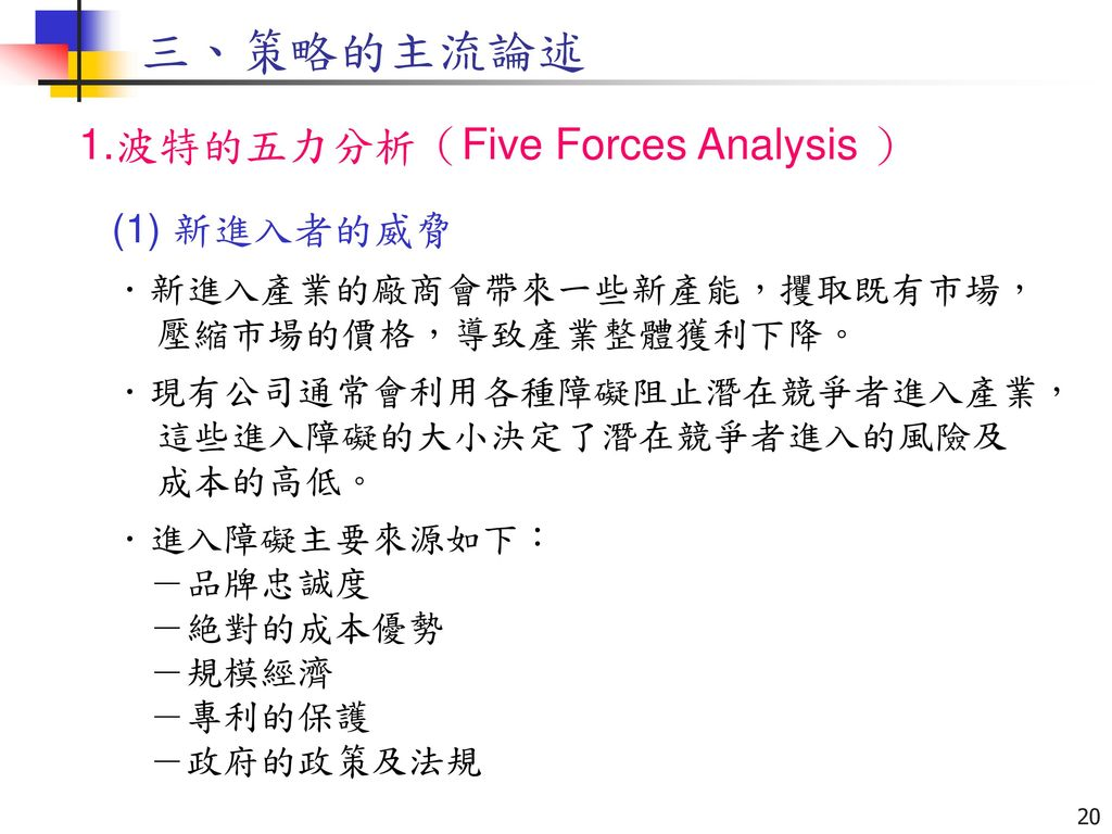 三、策略的主流論述 1.波特的五力分析(Five Forces Analysis ) (1) 新進入者的威脅