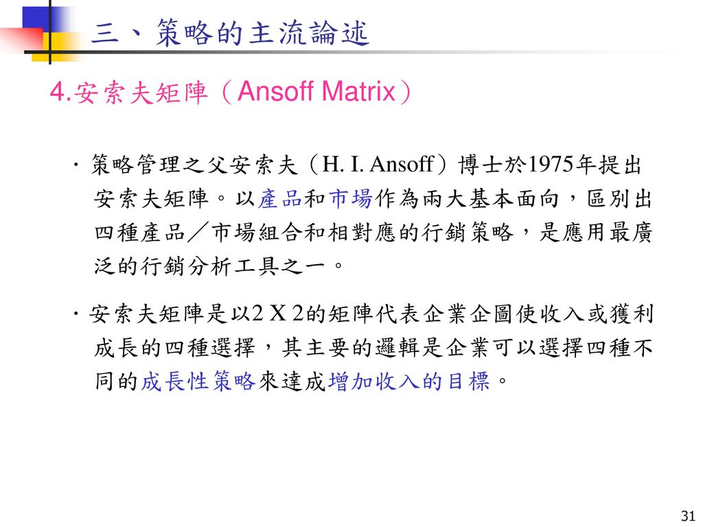 三、策略的主流論述 4.安索夫矩陣(Ansoff Matrix)