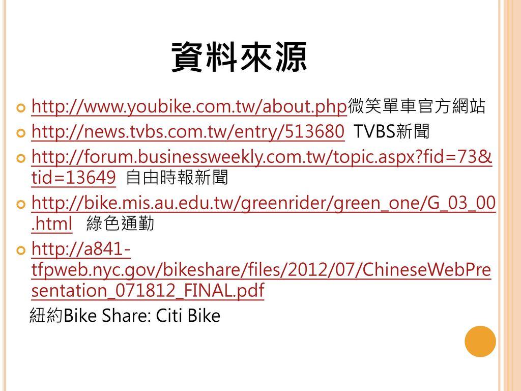 資料來源 http://www.youbike.com.tw/about.php微笑單車官方網站