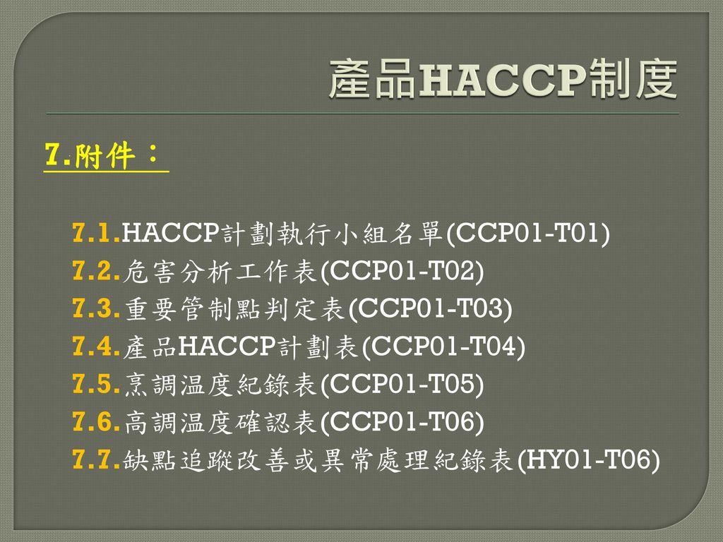 產品HACCP制度 7.附件: 7.1.HACCP計劃執行小組名單(CCP01-T01) 7.2.危害分析工作表(CCP01-T02)