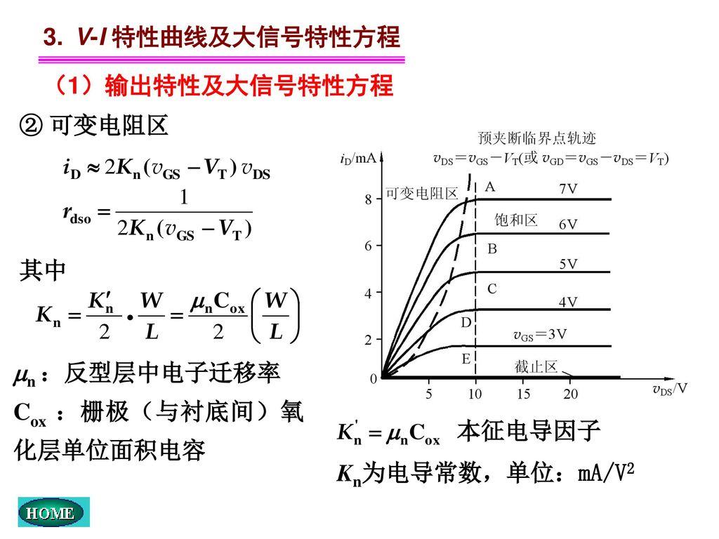 3. V-I 特性曲线及大信号特性方程 (1)输出特性及大信号特性方程. ② 可变电阻区. 其中. n :反型层中电子迁移率. Cox :栅极(与衬底间)氧化层单位面积电容. 本征电导因子.