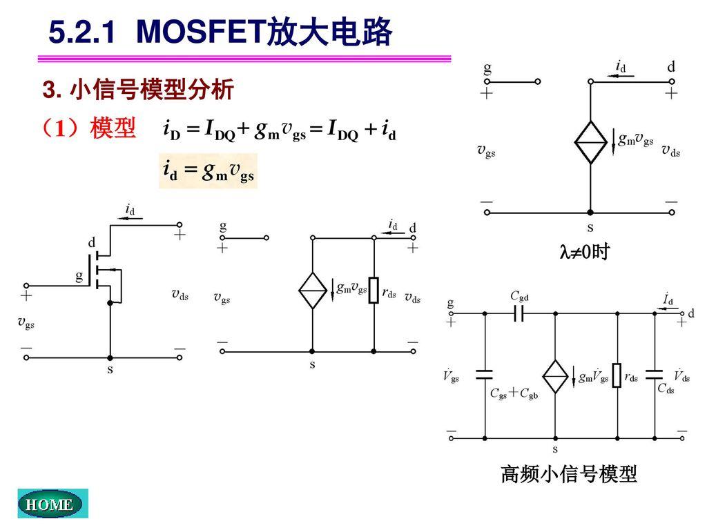 5.2.1 MOSFET放大电路 0时 3. 小信号模型分析 (1)模型 高频小信号模型