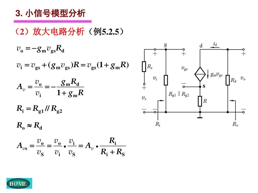 3. 小信号模型分析 (2)放大电路分析(例5.2.5) s