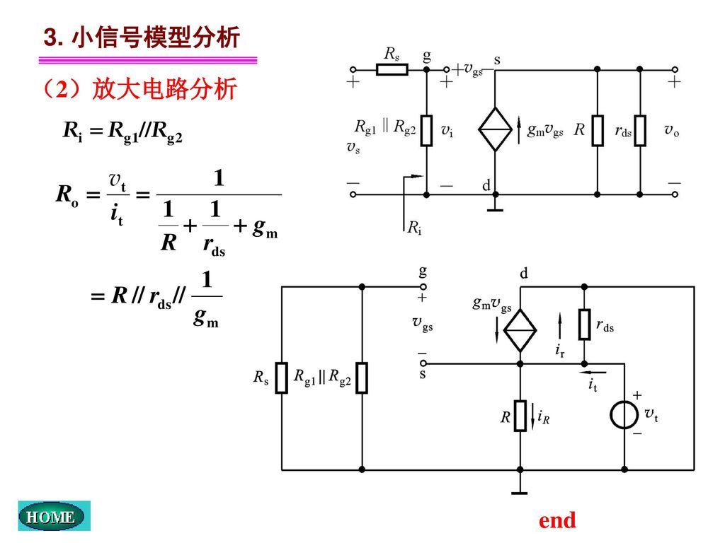 3. 小信号模型分析 (2)放大电路分析 end