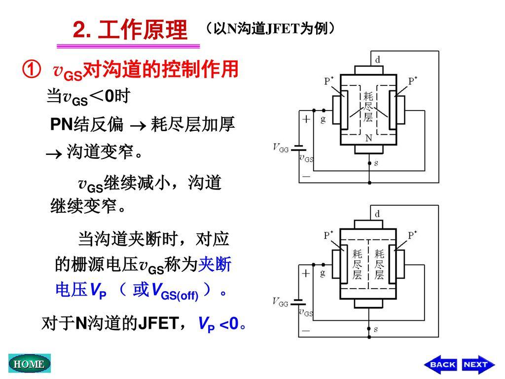 2. 工作原理 ① vGS对沟道的控制作用 当vGS<0时 PN结反偏  耗尽层加厚  沟道变窄。 vGS继续减小,沟道继续变窄。
