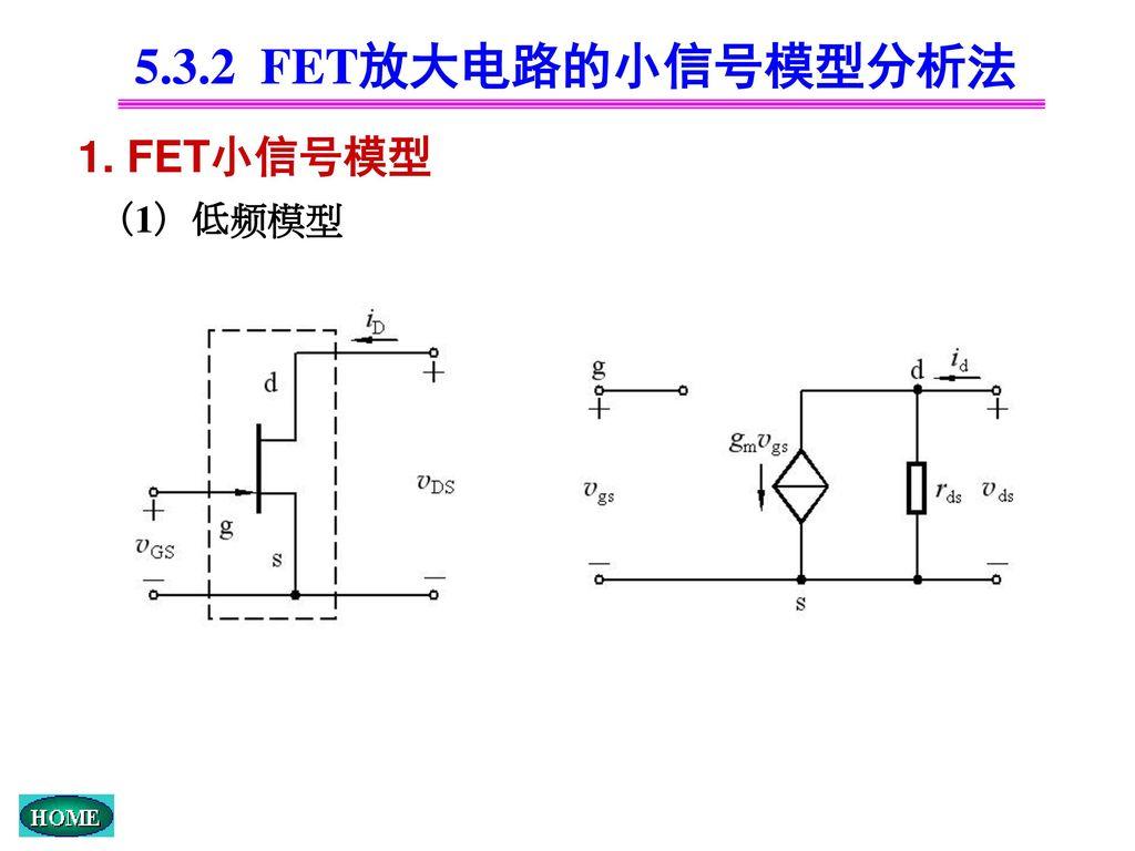 5.3.2 FET放大电路的小信号模型分析法 1. FET小信号模型 (1)低频模型