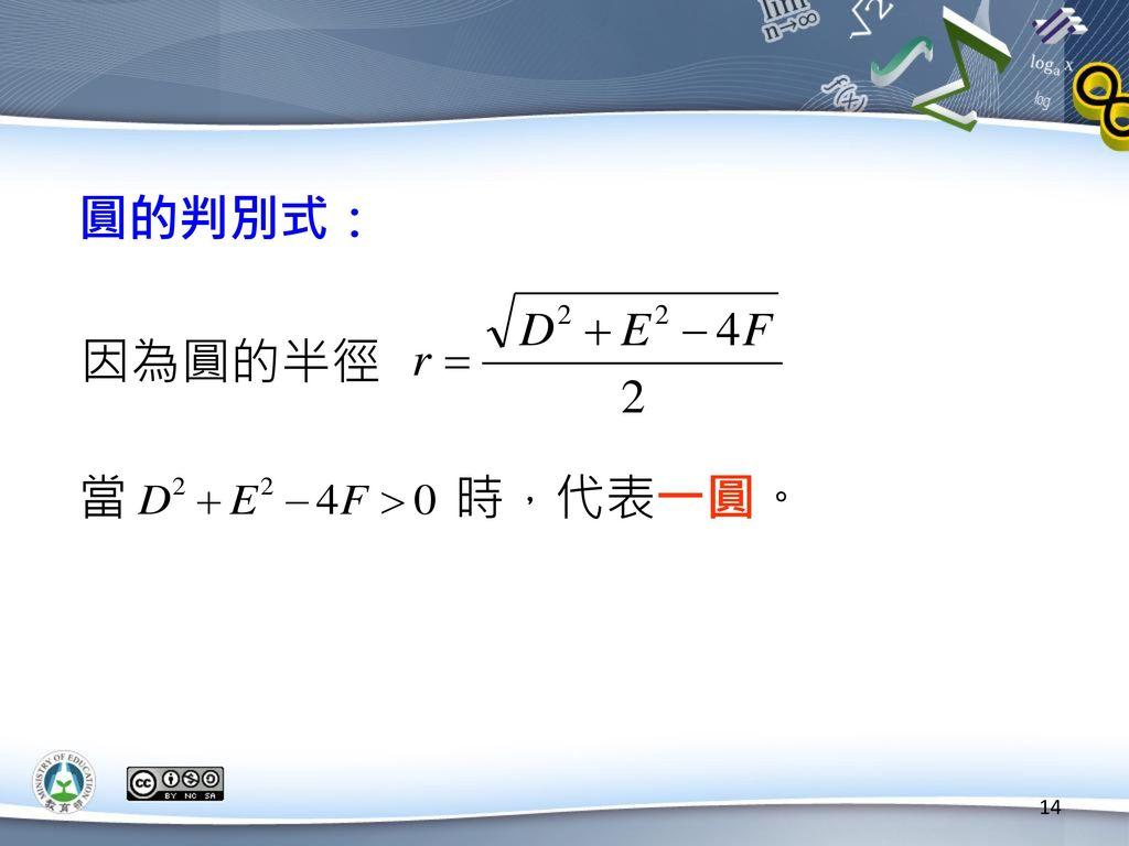 圓的判別式: 因為圓的半徑 當 時,代表一圓。