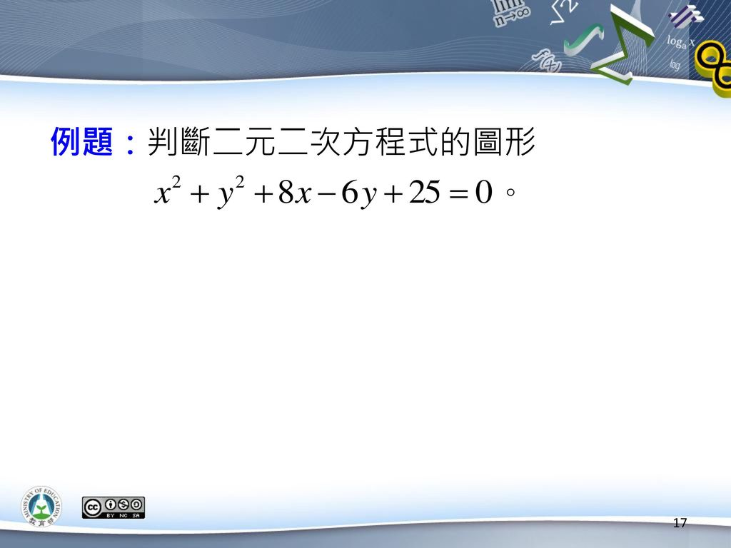 例題:判斷二元二次方程式的圖形