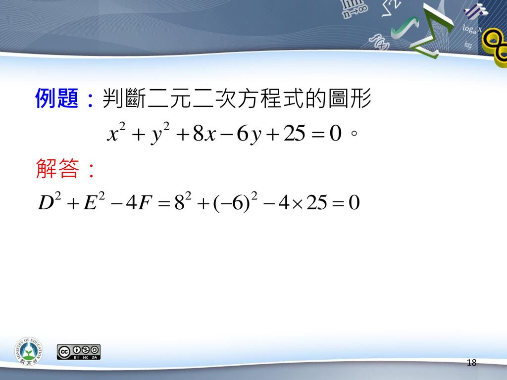 例題:判斷二元二次方程式的圖形 解答: