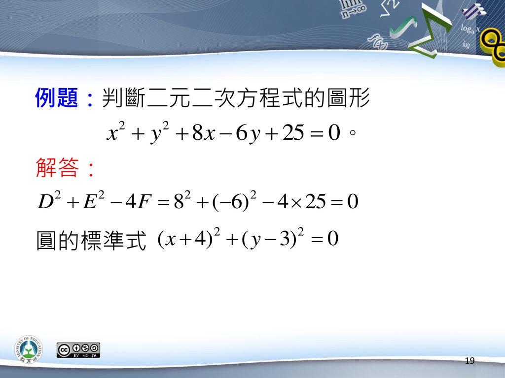 例題:判斷二元二次方程式的圖形 解答: 圓的標準式