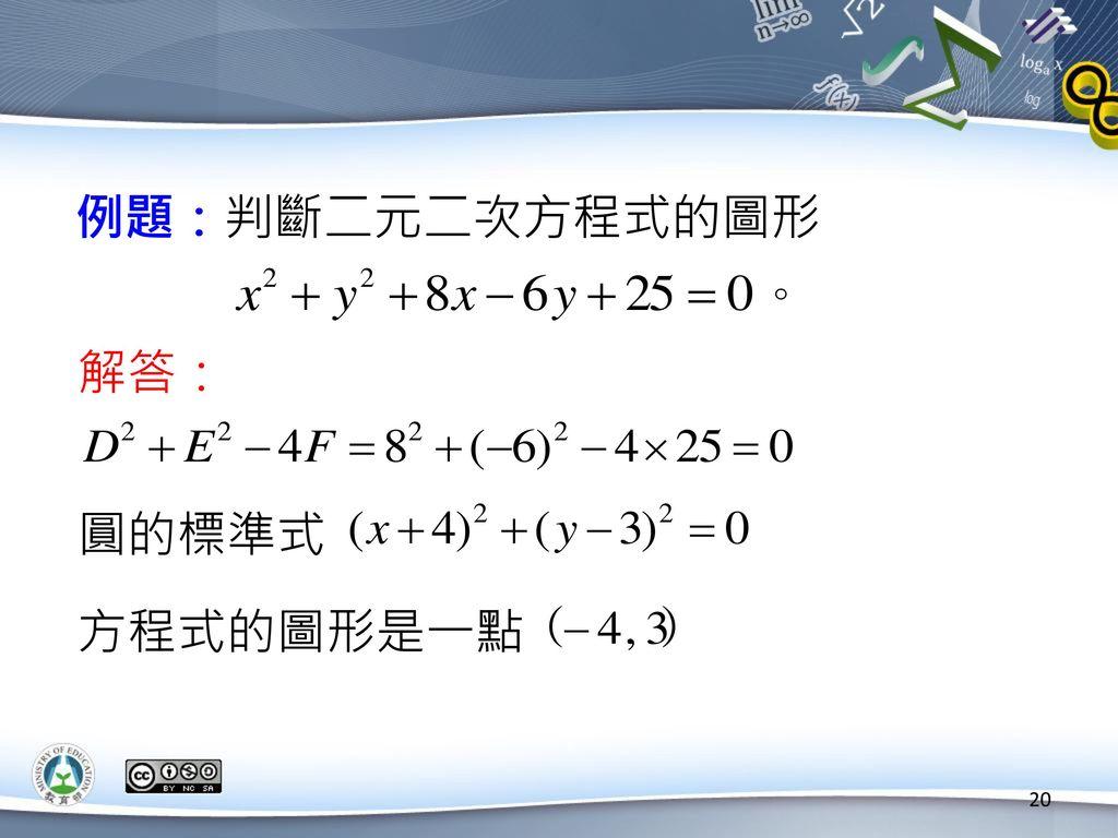 例題:判斷二元二次方程式的圖形 解答: 圓的標準式 方程式的圖形是一點