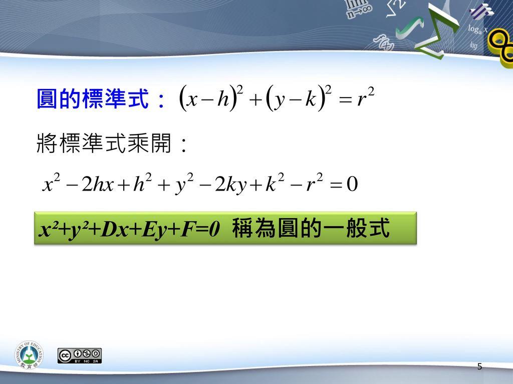 圓的標準式: 將標準式乘開: x²+y²+Dx+Ey+F=0 稱為圓的一般式