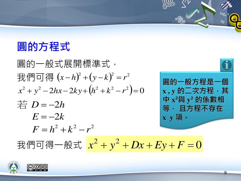 圓的方程式 圓的一般式展開標準式, 我們可得 我們可得一般式 圓的一般方程是一個